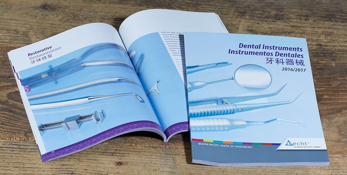 Becht Katalog Dentale Instrumente, Fremdsprachensatz und Fotografie